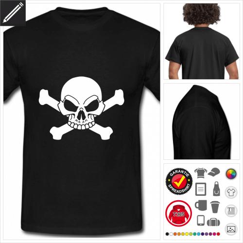 schwarzes Totenkopf und Kreuzknochen T-Shirt gestalten, Druck ab 1 Stuck