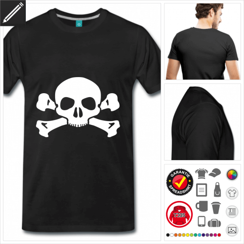 Totenkopf T-Shirt basic selbst gestalten. Online Druckerei