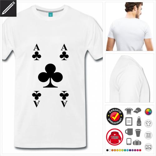 weisses Spielkarten T-Shirt online zu gestalten