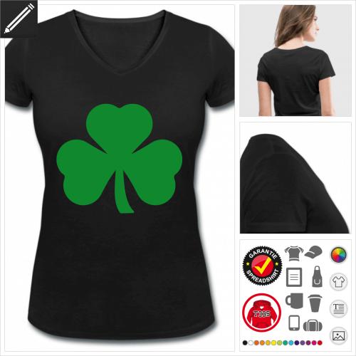 basic Kleeblatt T-Shirt selbst gestalten. Druck ab 1 Stuck