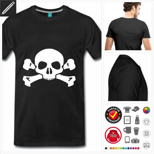 Männer Piratenflagge T-Shirt selbst gestalten. Online Druckerei