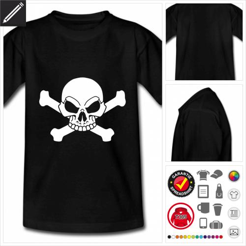 Totenkopf und Kreuzknochen Kurzarmshirt online Druckerei, höhe Qualität