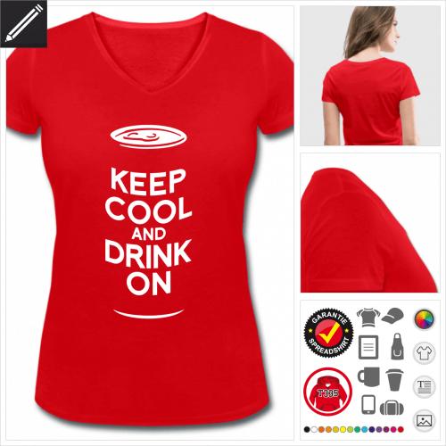 Frauen Trinken T-Shirt selbst gestalten. Online Druckerei