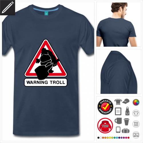 Troll Verkehrsschild T-Shirt basic online Druckerei, höhe Qualität