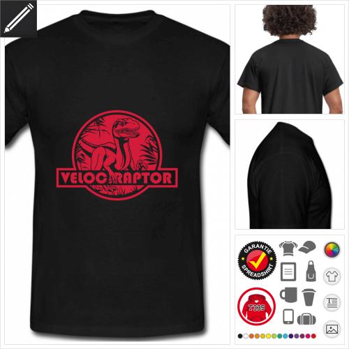 schwarzes Velociraptor T-Shirt selbst gestalten