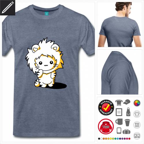 Kätzchen Löwen Kapuze Kurzarmshirt online gestalten
