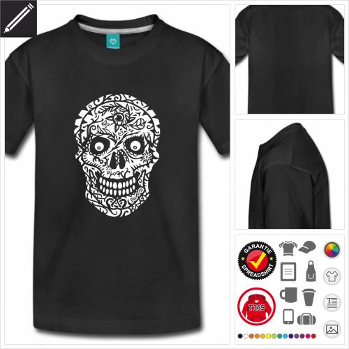 Teenager Totenkopf T-Shirt gestalten, Druck ab 1 Stuck