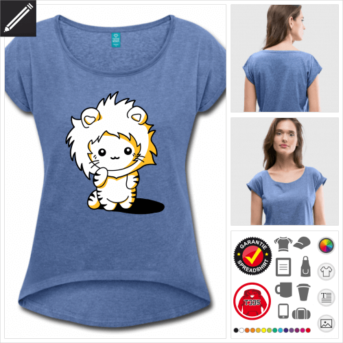 blaues Kätzchen Löwe T-Shirt online Druckerei, höhe Qualität