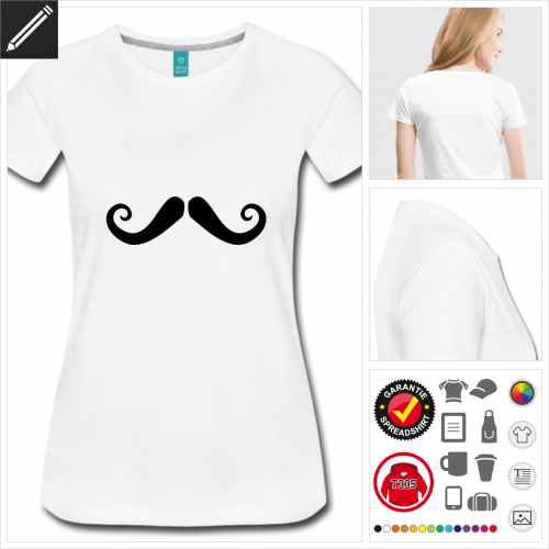 Frauen Dandy Schnurrbart T-Shirt selbst gestalten