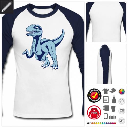 Farbiges Velociraptor Langarmshirt online Druckerei, höhe Qualität