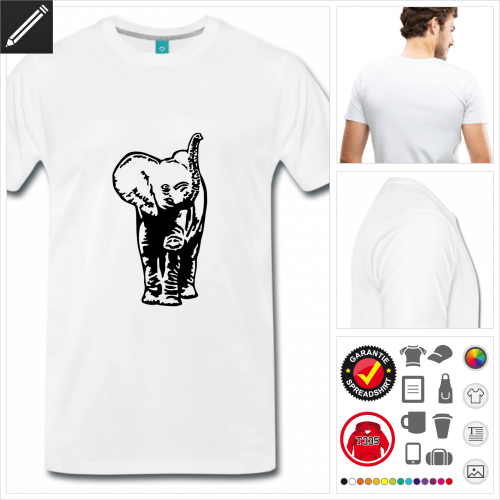 Männer Elefantenbaby T-Shirt selbst gestalten. Druck ab 1 Stuck