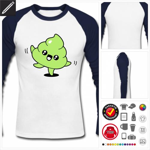 Kack emoji Langarmshirt online Druckerei, höhe Qualität