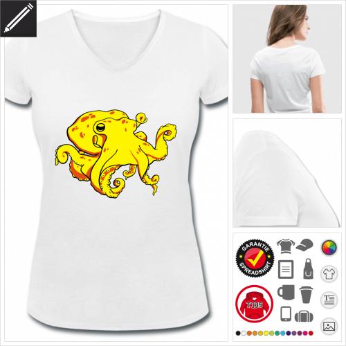 V-Ausschnitt Kraken T-Shirt online Druckerei, höhe Qualität