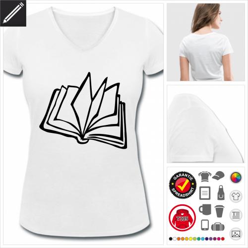 V-Ausschnitt Lesen T-Shirt selbst gestalten. Druck ab 1 Stuck