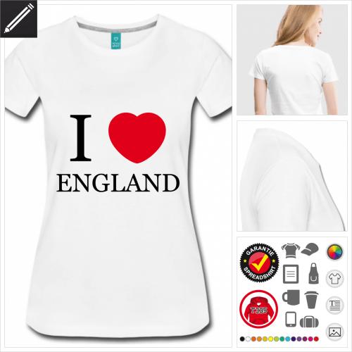 basic England T-Shirt online Druckerei, höhe Qualität