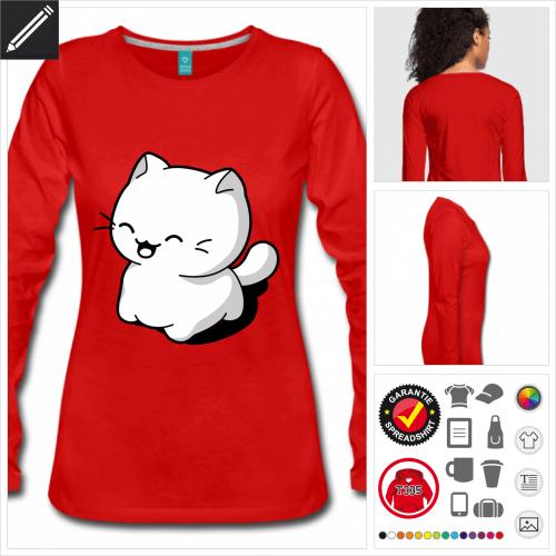 Kätzchen lachend Langarmshirt online gestalten