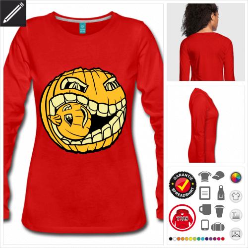 rotes Kannibalischer Kürbis T-Shirt online zu gestalten