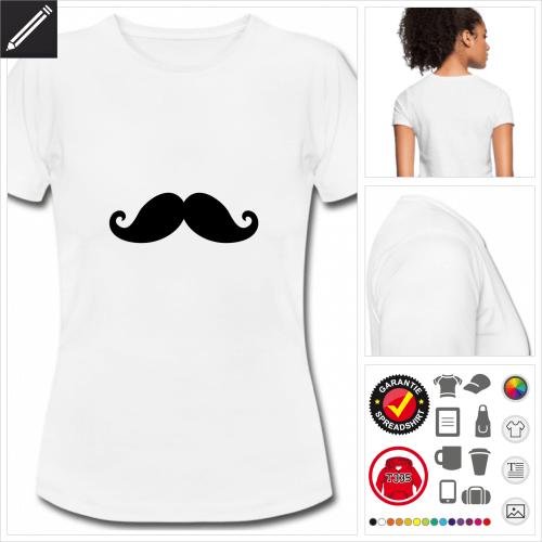 weisses moustache T-Shirt gestalten, Druck ab 1 Stuck