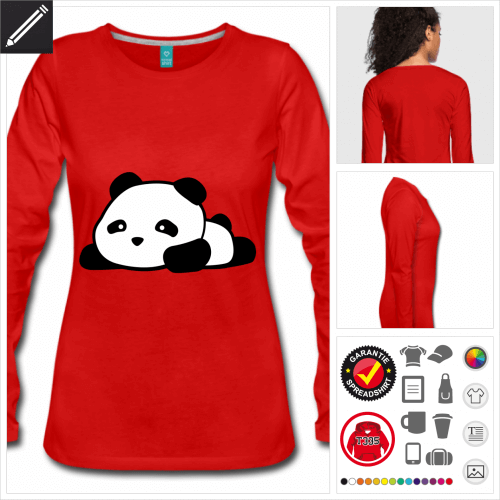 Panda Langarmshirt selbst gestalten. Online Druckerei