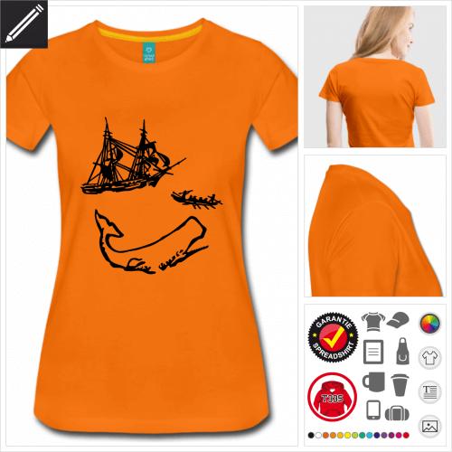 oranges Pottwal T-Shirt zu gestalten