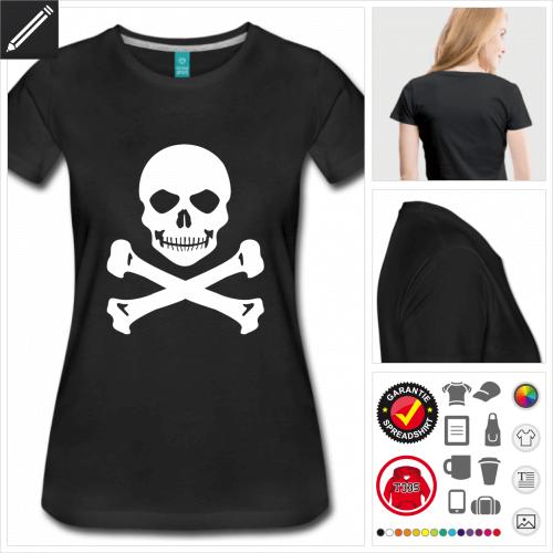 Frauen Piratenflagge T-Shirt online gestalten