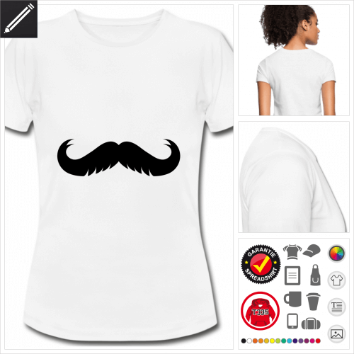 weisses Oberlippenbart T-Shirt personalisieren