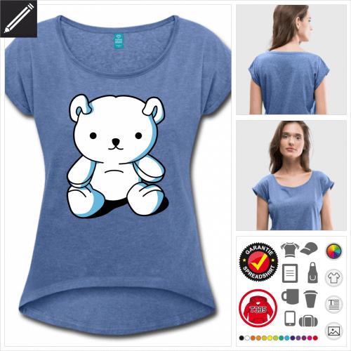 Frauen Teddybär Kawaii T-Shirt online Druckerei, höhe Qualität