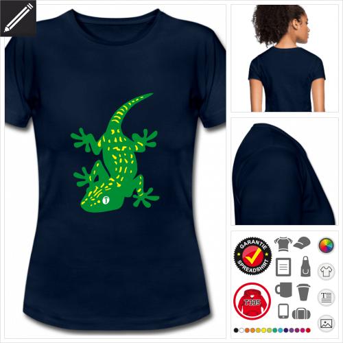 Gecko Kurzarmshirt selbst gestalten. Online Druckerei