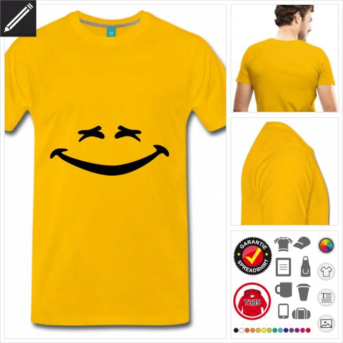 gelbes Lustiges Smiley T-Shirt gestalten, Druck ab 1 Stuck