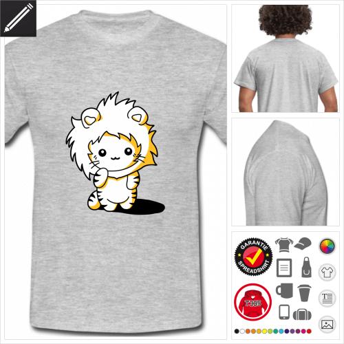 graues Lustiges Kätzchen T-Shirt selbst gestalten. Online Druckerei