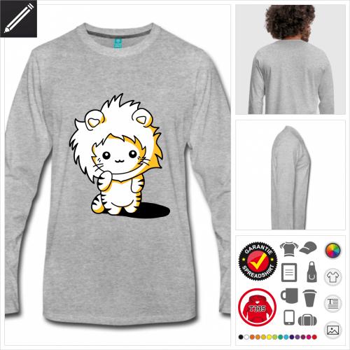 graues Lustiges Kätzchen T-Shirt online gestalten