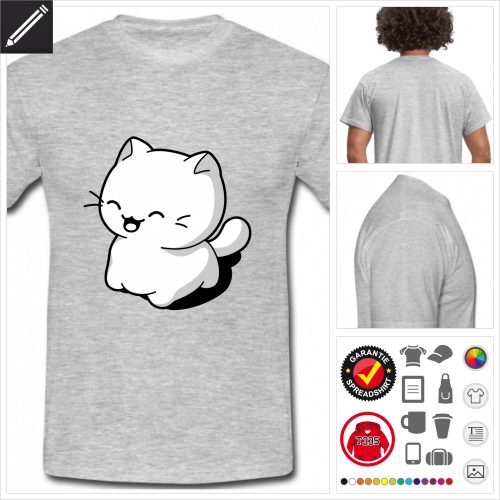 graues Katze lachend T-Shirt online gestalten