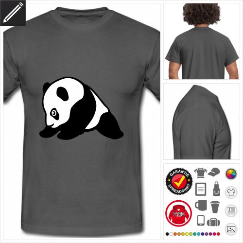 graues Lustiger Panda T-Shirt zu gestalten