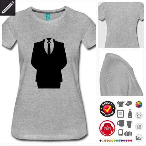 Frauen graues Hacking T-Shirt selbst gestalten. Druck ab 1 Stuck