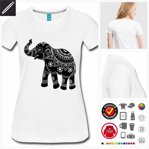 Frauen Elefanten Kurzarmshirt selbst gestalten. Online Druckerei