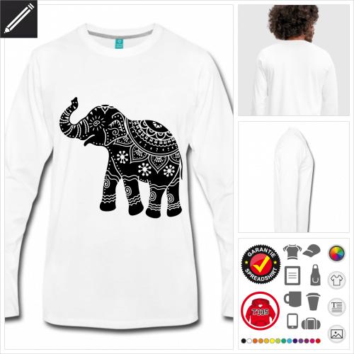 Kunstvoller Elefant T-Shirt für Männer online zu gestalten