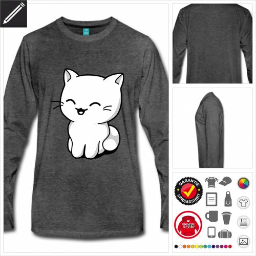 Kawaii Kätzchen Langarmshirt selbst gestalten. Online Druckerei