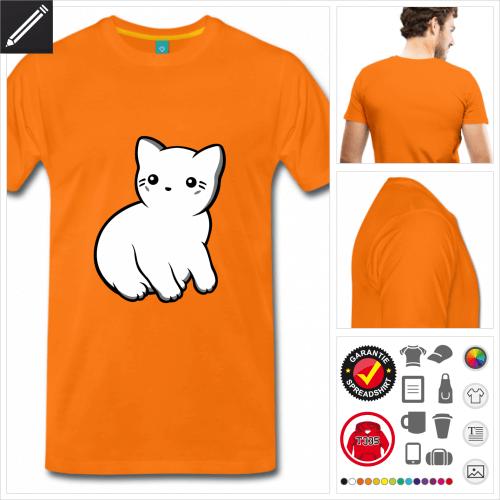 oranges Lustige Katze T-Shirt online zu gestalten