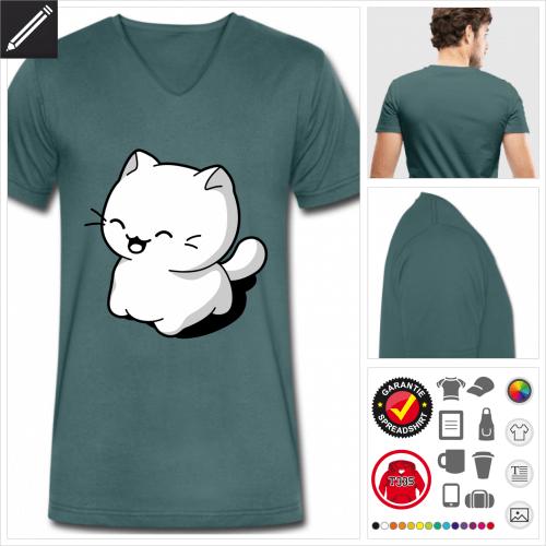 Kätzchen lachend T-Shirt für Männer online Druckerei, höhe Qualität