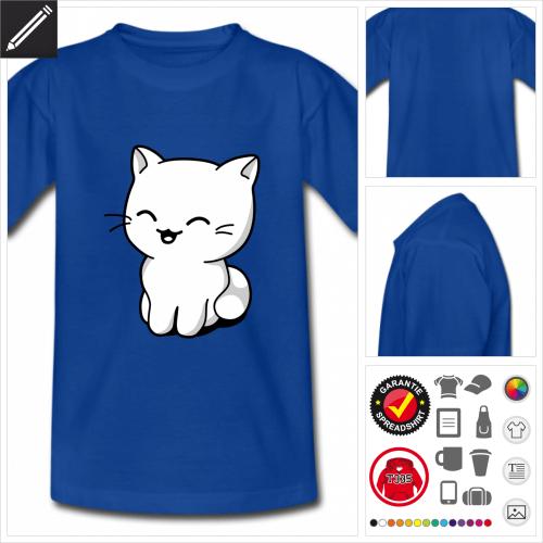 blaues Kätzchen T-Shirt gestalten, Druck ab 1 Stuck