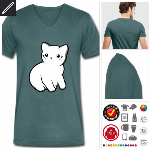 Katze kawaii T-Shirt für Männer online gestalten