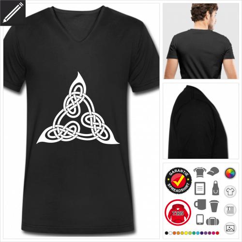 schwarzes Keltisches T-Shirt gestalten, Druck ab 1 Stuck