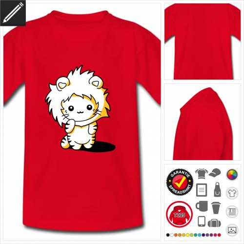 Kinder Kätzchen Kapuze T-Shirt selbst gestalten