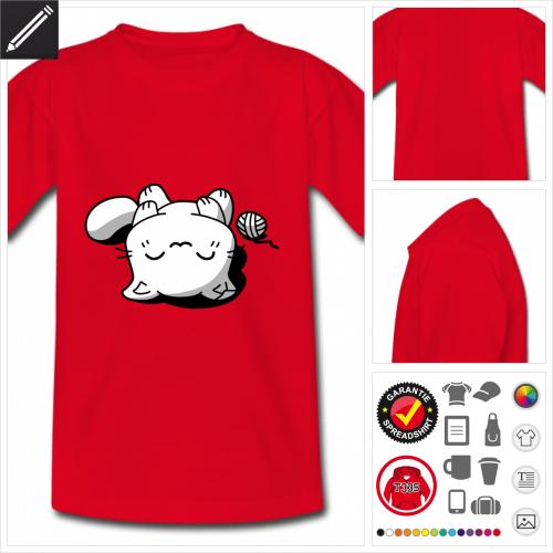 rotes Kawaii Katze T-Shirt zu gestalten