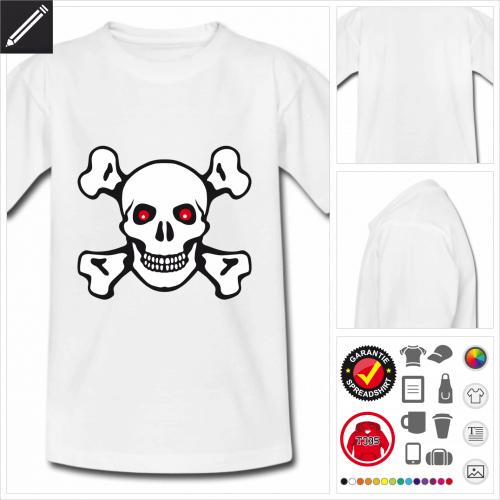 Kinder Piraten Totenkopf T-Shirt online zu gestalten