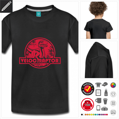 Kinder Velociraptor T-Shirt gestalten, Druck ab 1 Stuck