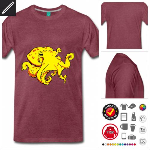 burgundrotes Krake T-Shirt selbst gestalten