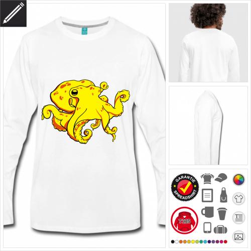 Oktopus T-Shirt für Männer selbst gestalten. Druck ab 1 Stuck
