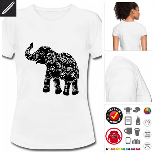 basic kunstvoller Elefant T-Shirt selbst gestalten. Druck ab 1 Stuck