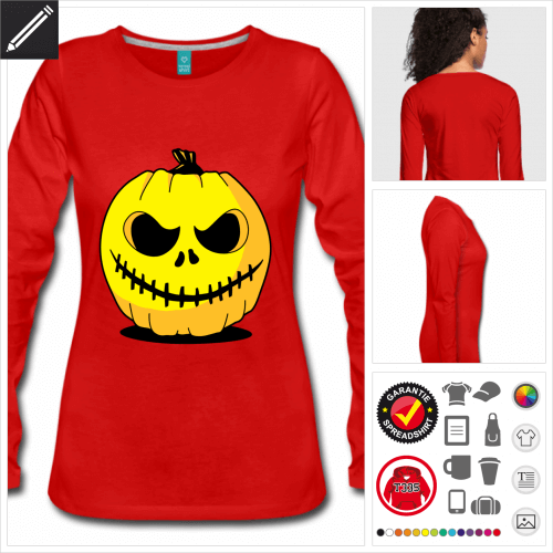 Halloween Kürbis Langarmshirt selbst gestalten. Druck ab 1 Stuck